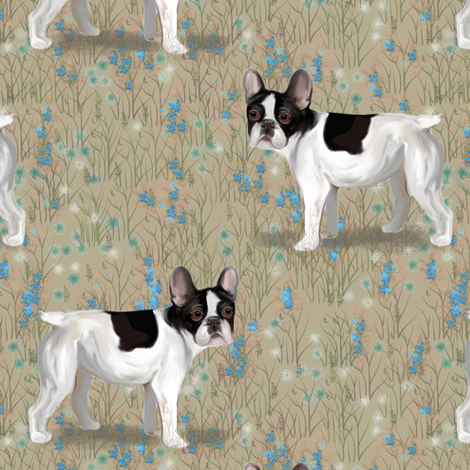French Bulldog in Wildflower Field on Beige fabric by eclectic_house on Spoonflower - custom fabric