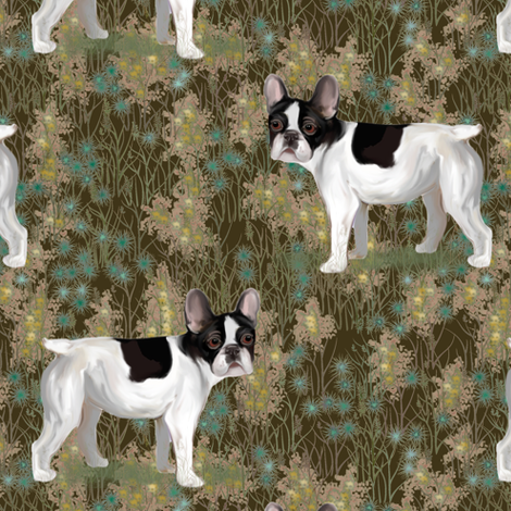 French Bulldog in Wildflower Field on Brown fabric by eclectic_house on Spoonflower - custom fabric