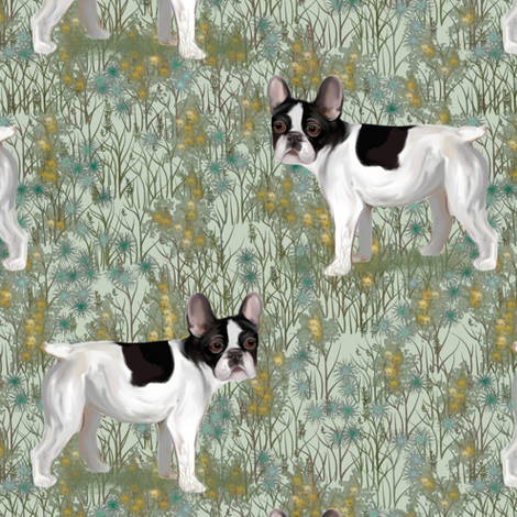 French Bulldog in Wildflower Field on Mint Green fabric by eclectic_house on Spoonflower - custom fabric