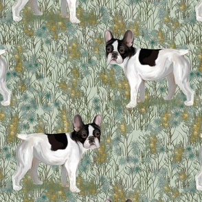 French Bulldog in Wildflower Field on Mint Green
