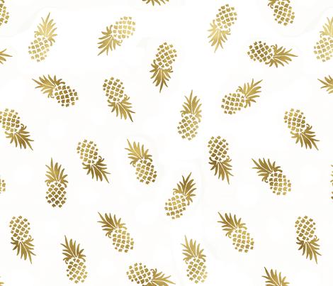 Gold Pineapples Toss custom fabric by crystal_walen on Spoonflower - custom fabric