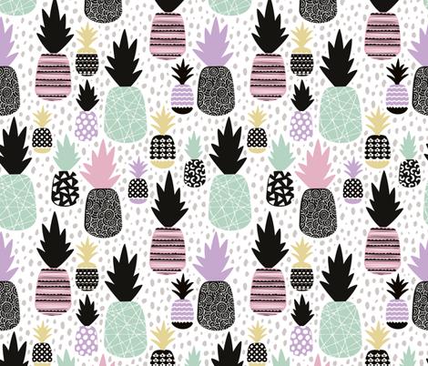 Pastel tropical hawaiian summer sweet kawaii pineapple fruit for girls LARGE fabric by littlesmilemakers on Spoonflower - custom fabric