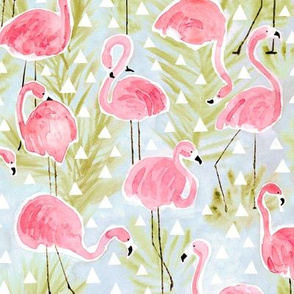 Flamingos with palm trees and triangles