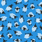 Little ditsy sheep blue