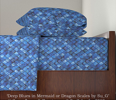 Deep Blues in Mermaid or Dragon Scales by Su_G
