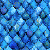 Bright Blues in Mermaid or Dragon Scales by Su_G