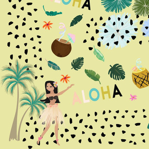 Hula Hawaii Aloha Pineapple Coconut Fabric Design