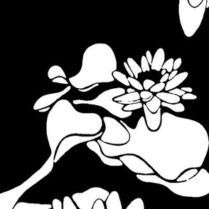 Water Lily print white-black-ch