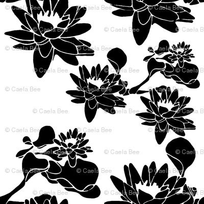 Water Lily print blackwhite