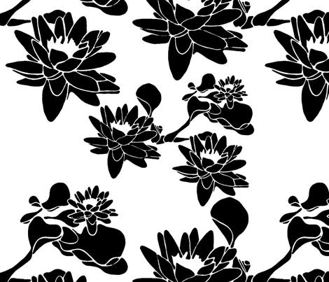 Water Lily print blackwhite fabric by caela_bee_designs on Spoonflower - custom fabric