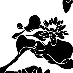 Water Lily print blackwhite
