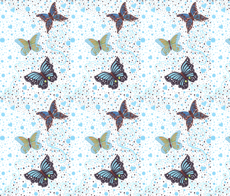 Blue_whimsical_butterflies fabric by littlelemontreeart on Spoonflower - custom fabric
