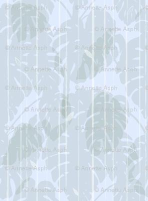 Monstera jungle Stripes Soft blue