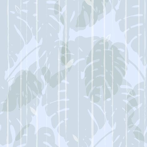 Monstera jungle Stripes Soft blue fabric by align_design on Spoonflower - custom fabric