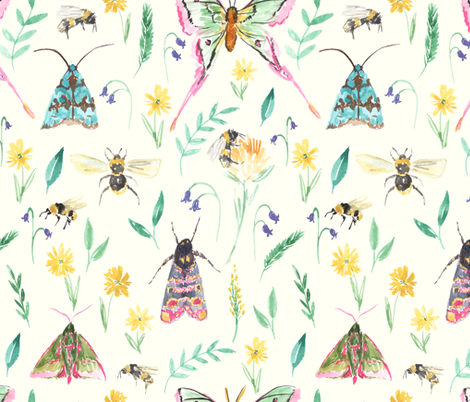 Moths_and_Bees fabric by laurenthomasdesigns on Spoonflower - custom fabric