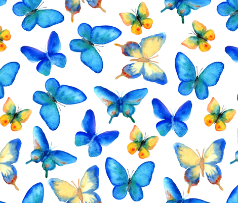 Watercolor Butterflies fabric by svetlana_prikhnenko on Spoonflower - custom fabric