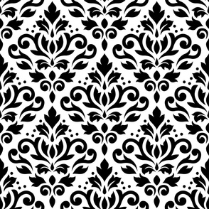 Scroll Damask Pattern Black on White