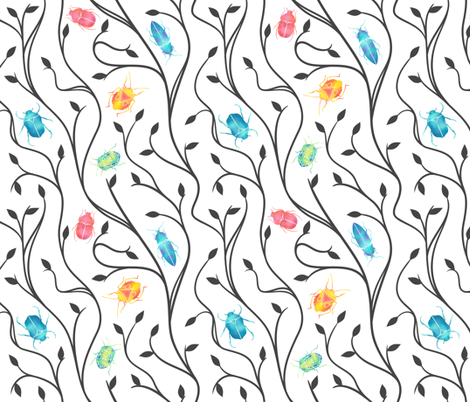Beetles & Vines - Colour fabric by tracey_knight on Spoonflower - custom fabric
