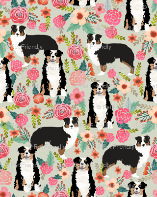 australian shepherd floral fabric aussie dog tricolored aussie fabric - lite
