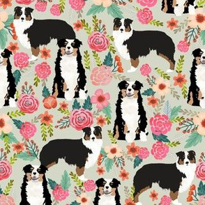 australian shepherd floral fabric aussie dog tricolored aussie fabric - lite