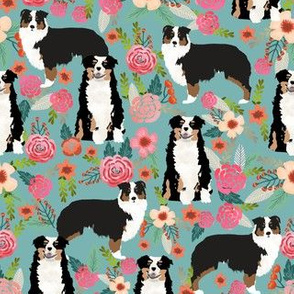 australian shepherd floral fabric aussie dog tricolored aussie fabric - blue