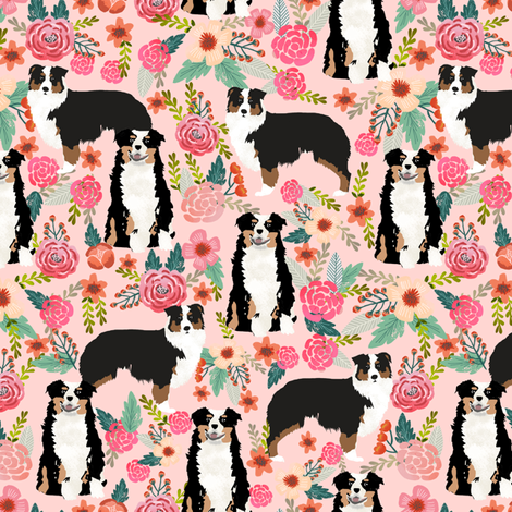 australian shepherd floral fabric aussie dog tricolored aussie fabric - pink fabric by petfriendly on Spoonflower - custom fabric