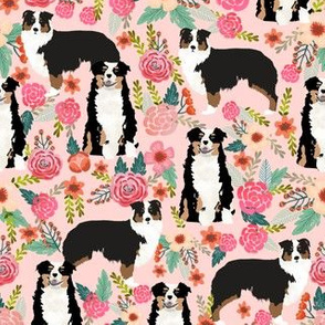 australian shepherd floral fabric aussie dog tricolored aussie fabric - pink