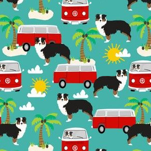australian shepherd summer beach fabric aussie dog tricolored aussie fabric - turquoise