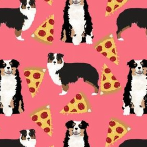 australian shepherd pizza fabric dogs and pizza food aussie dog fabric tricolored aussie - dark pink