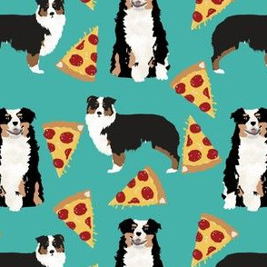 australian shepherd pizza fabric dogs and pizza food aussie dog fabric tricolored aussie - turquoise