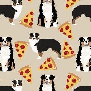 australian shepherd pizza fabric dogs and pizza food aussie dog fabric tricolored aussie - khaki