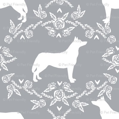 Husky siberian huskies dog breed silhouette fabric floral grey