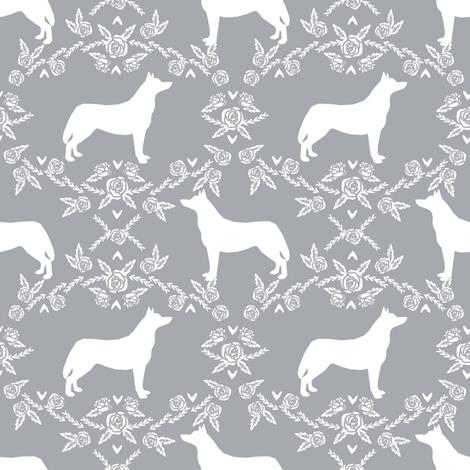 Husky siberian huskies dog breed silhouette fabric floral grey fabric by petfriendly on Spoonflower - custom fabric