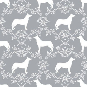 Husky siberian huskies dog breed silhouette fabric floral grey