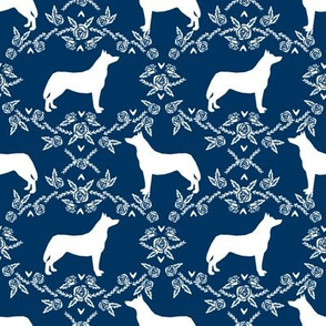 Husky siberian huskies dog breed silhouette fabric floral navy