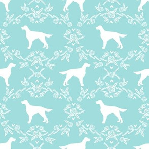 Irish Setter floral silhouette dog fabric pattern blue tint