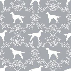 Irish Setter floral silhouette dog fabric pattern grey