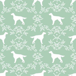 Irish Setter floral silhouette dog fabric pattern mint
