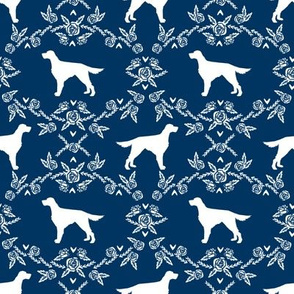 Irish Setter floral silhouette dog fabric pattern navy