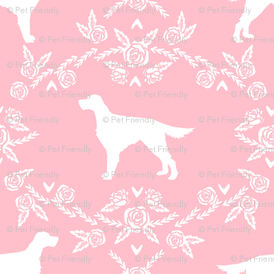 Irish Setter floral silhouette dog fabric pattern pink