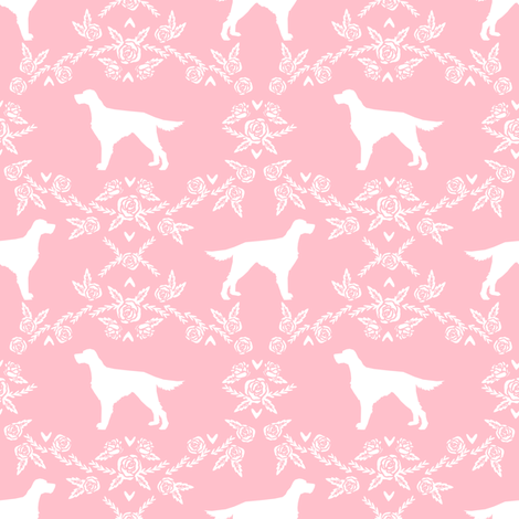 Irish Setter floral silhouette dog fabric pattern pink fabric by petfriendly on Spoonflower - custom fabric