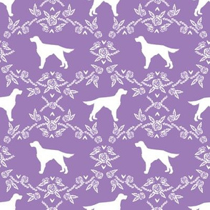Irish Setter floral silhouette dog fabric pattern purple