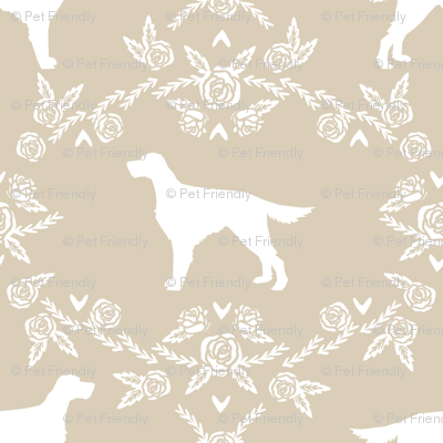 Irish Setter floral silhouette dog fabric pattern sand