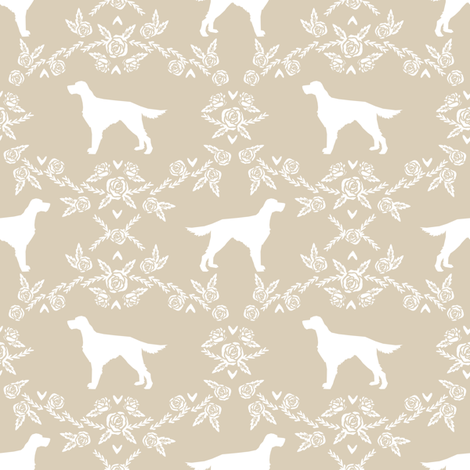 Irish Setter floral silhouette dog fabric pattern sand fabric by petfriendly on Spoonflower - custom fabric