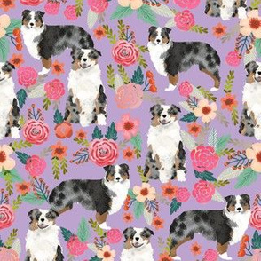 australian shepherd dog floral fabric aussie dog blue merle dog florals design - lilac