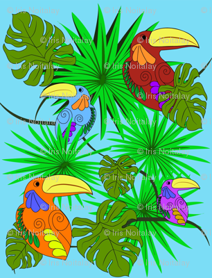 Toucan gathering in the forest