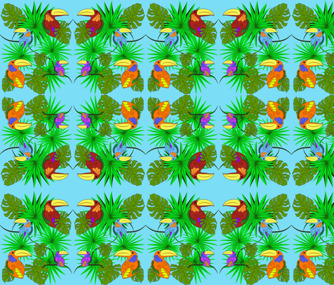 Toucan gathering in the forest fabric by iquiltdesigns on Spoonflower - custom fabric