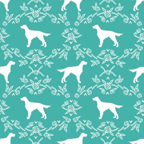 Irish Setter floral silhouette dog fabric pattern turquoise