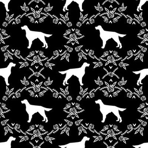 Irish Setter floral silhouette dog fabric pattern black and white