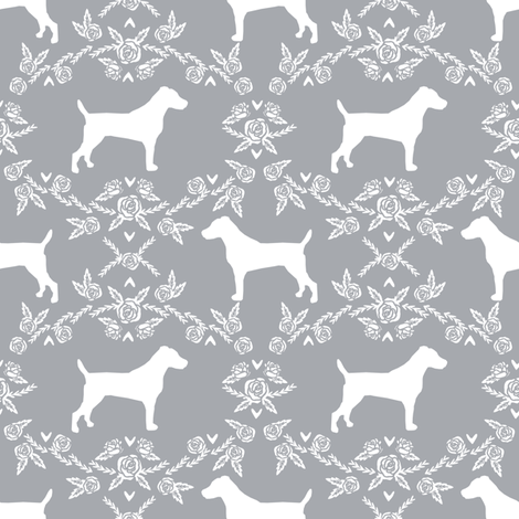 Jack Russell Terrier floral minimal dog silhouette grey fabric by petfriendly on Spoonflower - custom fabric